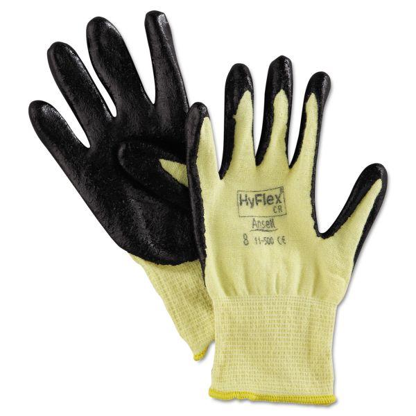 AnsellPro HyFlex 500 Light-Dty Gloves, Size 8, Kevlar/Nitrile, Yellow/Black, 12 Pairs