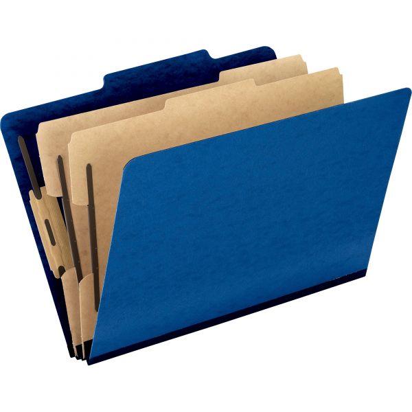 Pendaflex Six-Section Colored Classification Folders, Legal, 2/5 Tab, Blue, 10/Box