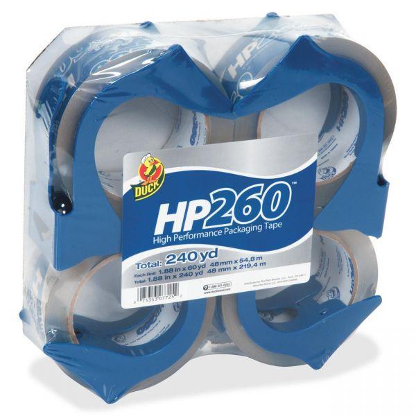 "Duck HP260 Packaging Tape w/Dispenser, 1.88"" x 60yds, 3"" Core, 4/Pack"