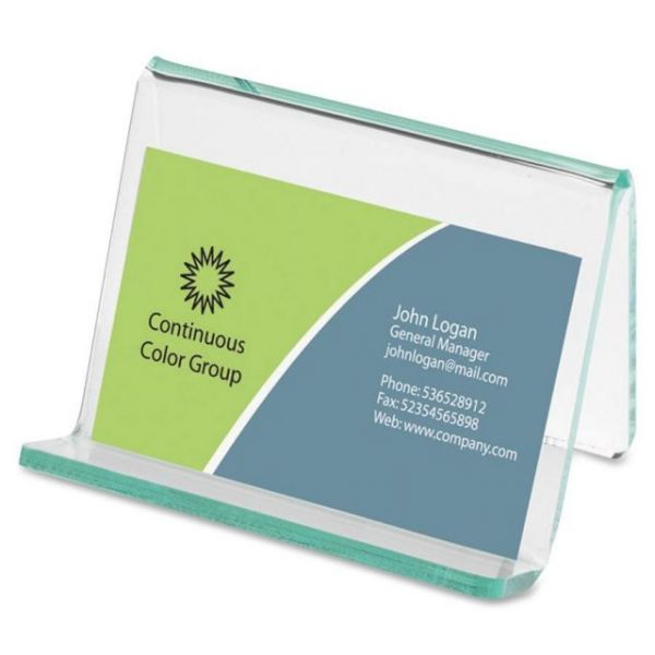 Lorell Acrylic Hint of Green Business Card Holder