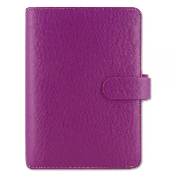 Filofax Saffiano Personal Size Organizer, Compact, 6 3/4 x 3 3/4, Raspberry