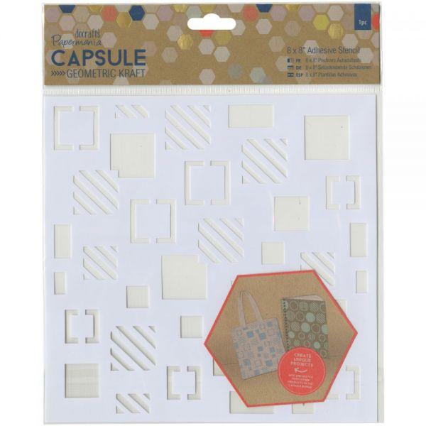 "Papermania Geometric Kraft Adhesive Stencil 8""X8"""