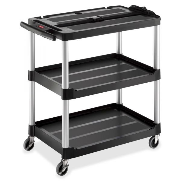 Rubbermaid Media Master AV Cart, Three Shelves, 18-3/4 x 32-3/4 x 33, Black