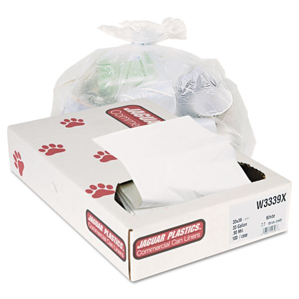 Jaguar Plastics Industrial Strength Commercial Can Liners, 33gal, .9mil, White, 100/Carton