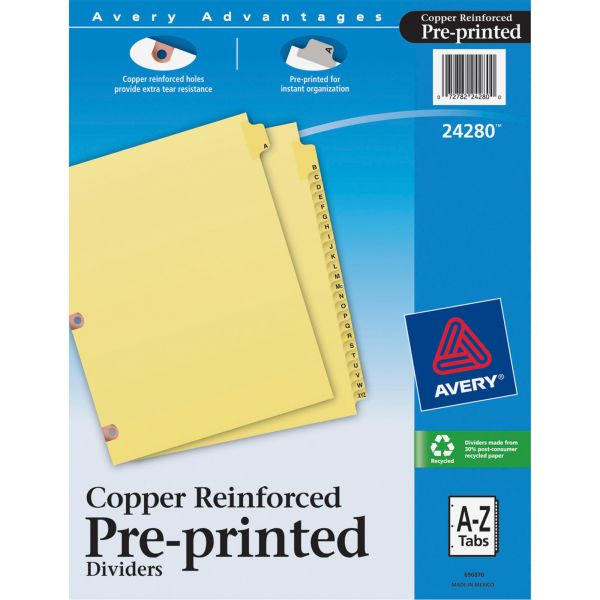 Avery Preprinted Laminated Tab Dividers w/Copper Reinforced Holes, 25-Tab, Letter