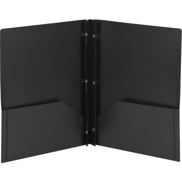 Smead Black Plastic Two Pocket Folders with Fasteners