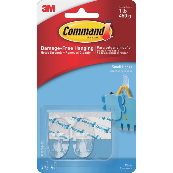 Command Small Clear Hooks with Clear Strips