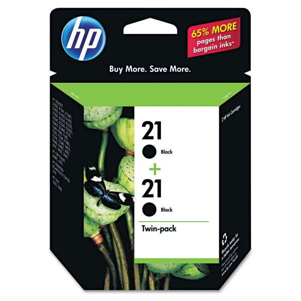 HP 21 Black Twinpack Ink Cartridges (C9508FN#140)