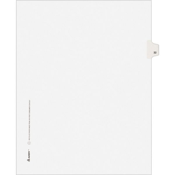 Avery-Style Legal Exhibit Side Tab Divider, Title: 32, Letter, White, 25/Pack
