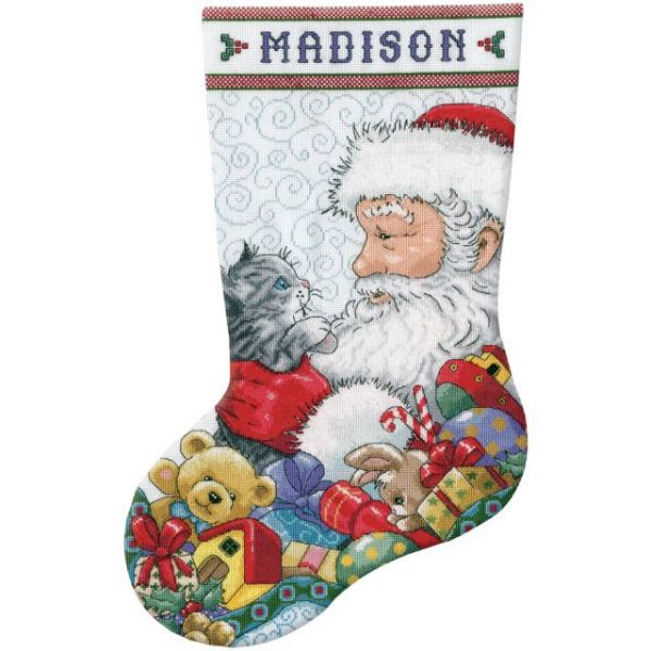 Santa & Kitten Stocking Counted Cross Stitch Kit