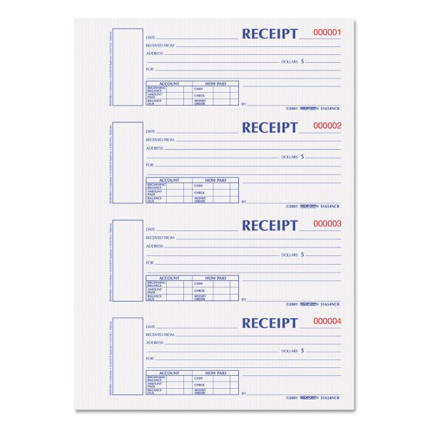 Rediform Hardcover Numbered Money Receipt Book, 6 7/8 x 2 3/4, Two-Part, 300 Forms