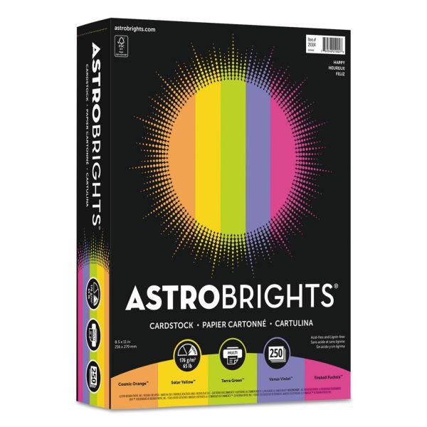 Astrobrights Color Cardstock, 65lb, 8 1/2 x 11, Assorted, 250 Sheets