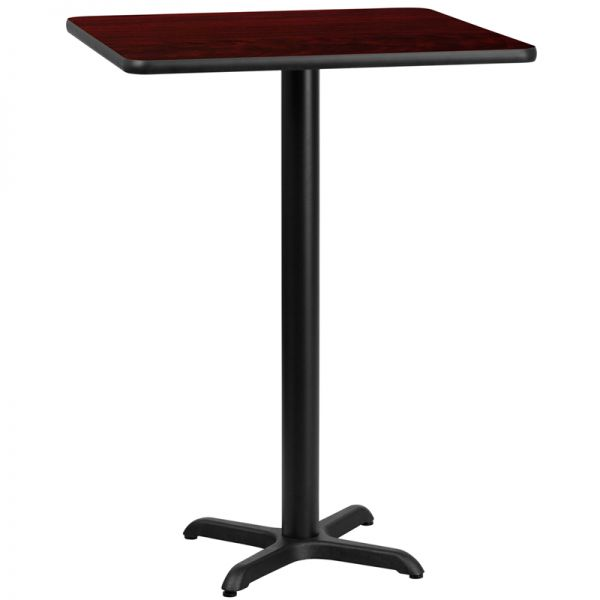 Flash Furniture 30'' Square Mahogany Laminate Table Top with 22'' x 22'' Bar Height Table Base