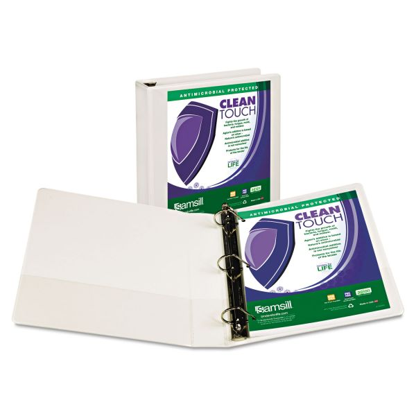 "Samsill Clean Touch Locking 3-Ring View Binder, Antimicrobial, 1 1/2"" Capacity, D-Ring, White"