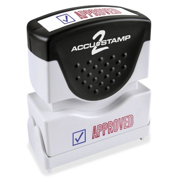 ACCUSTAMP2 Pre-Inked Shutter Stamp with Microban, Red/Blue, APPROVED, 1 5/8 x 1/2