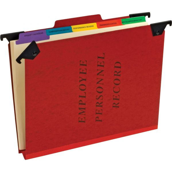 Pendaflex Personnel Folders, 1/3 Cut Hanging Top Tab, Letter, Red