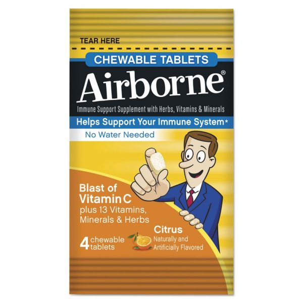 Airborne Immune Support Chewable Tablets, Citrus, 4/Pack, 144 Pack/Carton