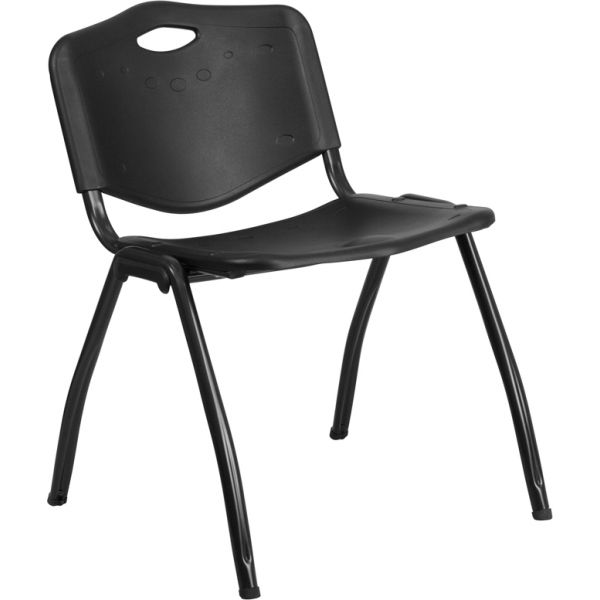 Flash Furniture HERCULES Series 880 lb. Capacity Black Plastic Stack Chair