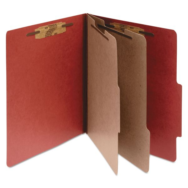 ACCO Pressboard 25-Pt Classification Folders, Letter, 6-Section, Earth Red, 10/Box