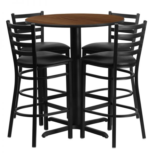 Flash Furniture 30'' Round Walnut Laminate Table Set with 4 Ladder Back Metal Barstools - Black Vinyl Seat