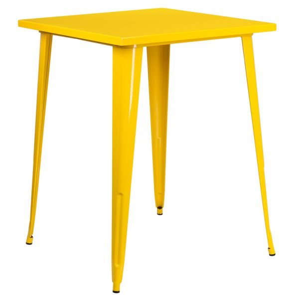 Flash Furniture 31.5'' Square Yellow Metal Indoor-Outdoor Bar Height Table