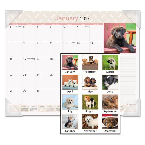 Visual Organizer Puppies Photographic Monthly Desk Pad Calendar