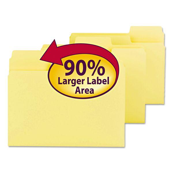 Smead SuperTab Colored File Folders, 1/3 Cut, Letter, Yellow, 100/Box