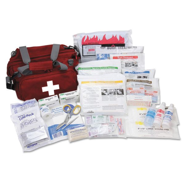 Pac-Kit All Terrain First Aid Kit, 112 Pieces, Ballistic Nylon, Red