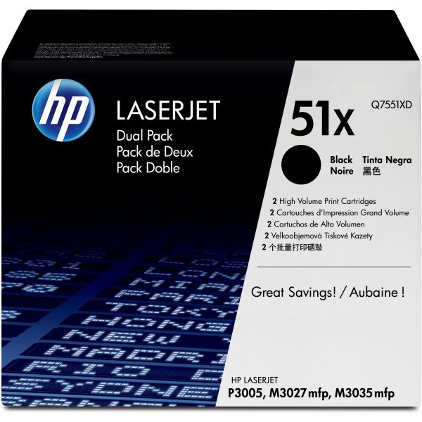 HP 51X Black High Yield Toner Cartridges (Q7551XD)