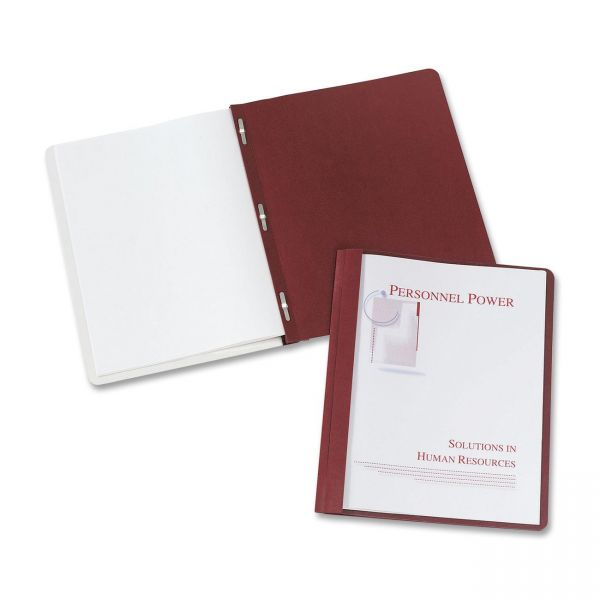 """Avery Durable Clear Front Report Cover w/Prong Fasteners, 1/8"""" Cap, Clear/Red, 25/Box"""