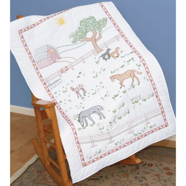 """Stamped White Lap Quilt Top 40""""X60"""""""