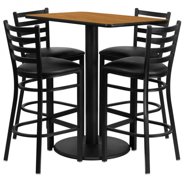 Flash Furniture 24'' x 42'' Rectangular Natural Laminate Table Set with 4 Ladder Back Metal Barstools - Black Vinyl Seat