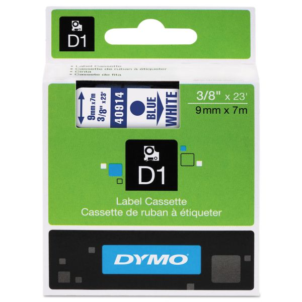 "DYMO D1 High-Performance Polyester Removable Label Tape, 3/8"" x 23 ft, Blue on White"