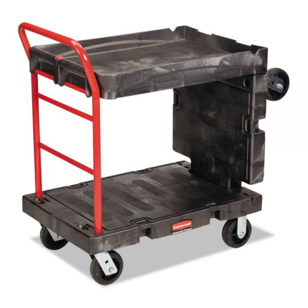 Rubbermaid Commercial Convertible Platform Truck, 1000-lb Cap, 24 1/4 w x  61 1/2 d x 42 1/8 h, Black