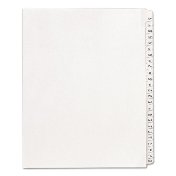 Avery Allstate-Style Legal Exhibit Side Tab Dividers, 25-Tab, 126-150, Letter, White