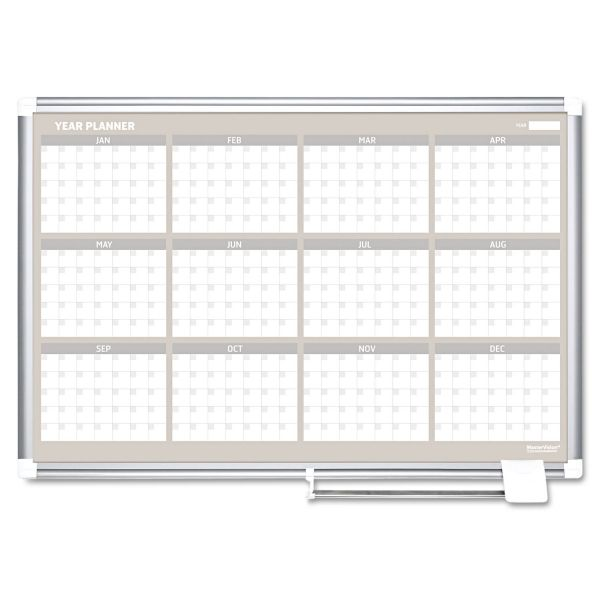 MasterVision 12 Month Year Planner, 36x24, Aluminum Frame