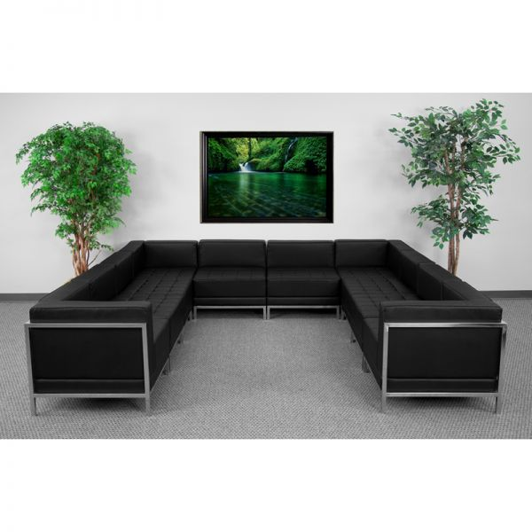 Flash Furniture HERCULES Imagination Series Black Leather U-Shape Sectional Configuration, 10 Pieces