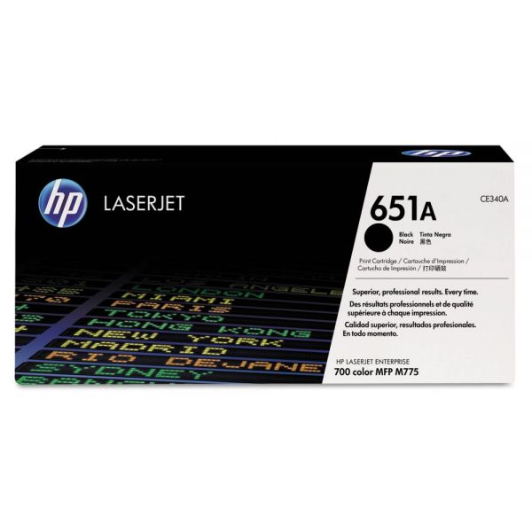 HP 651A, (CE340A) Black Original LaserJet Toner Cartridge