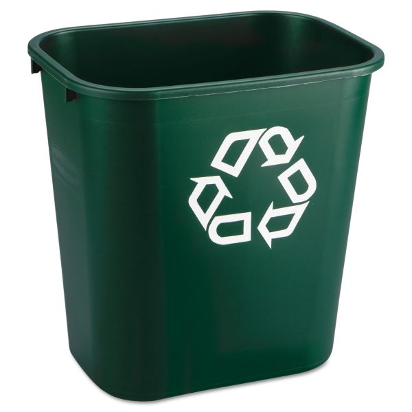 Rubbermaid Commercial Deskside Paper Recycling Container, Rectangular, Plastic, 7 gal, Green