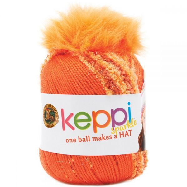 Lion Brand Keppi Yarn - Orange Fizz-Sparkle