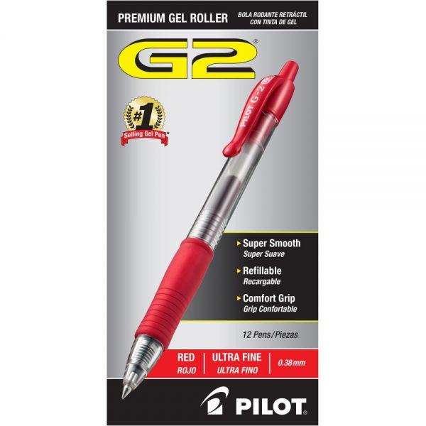 Pilot G2 Premium Retractable Gel Ink Pen, Red Ink, Ultra Fine, Dozen