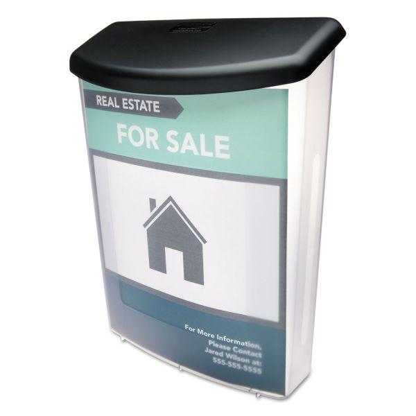 deflecto Outdoor Literature Box, 10w x 4 1/2d x 13 1/8h, Clear/Black