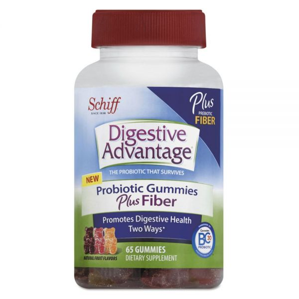 Digestive Advantage Probiotic Gummies Plus Fiber, Natural Fruit Flavors, 65 Count