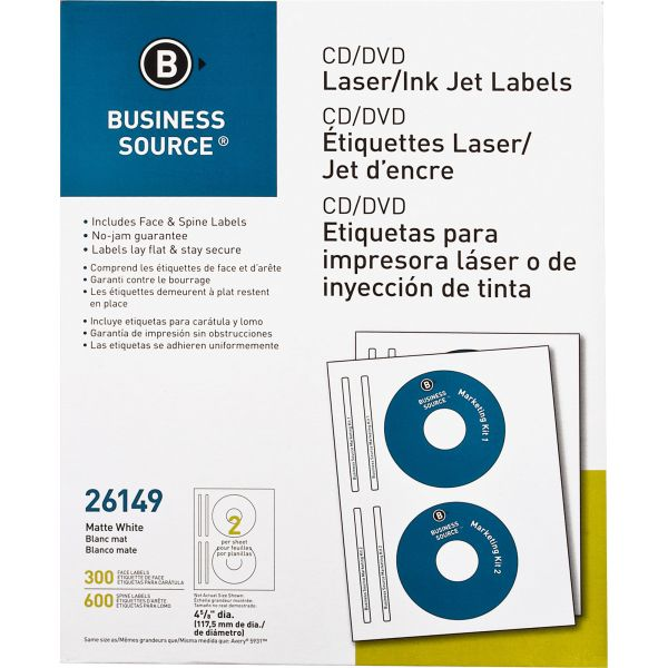 business source 26149 cd dvd label 300 pack officesupply com