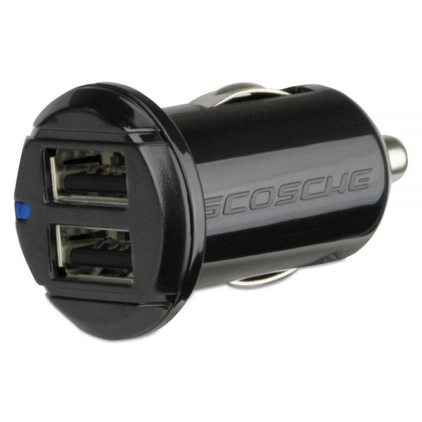 Scosche reVOLT dual Car Charger, Two 12W Illuminated USB Ports, Black