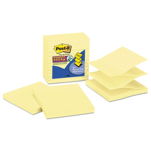 Post-it Pop-up Notes Super Sticky Pop-up Notes Refill, Lined, 4 x 4, Canary Yellow, 90-Sheet, 5/Pack