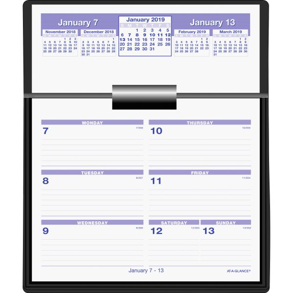 AT-A-GLANCE Flip-A-Week Desk Calendar and Base, 5 5/8 x 7, White, 2019