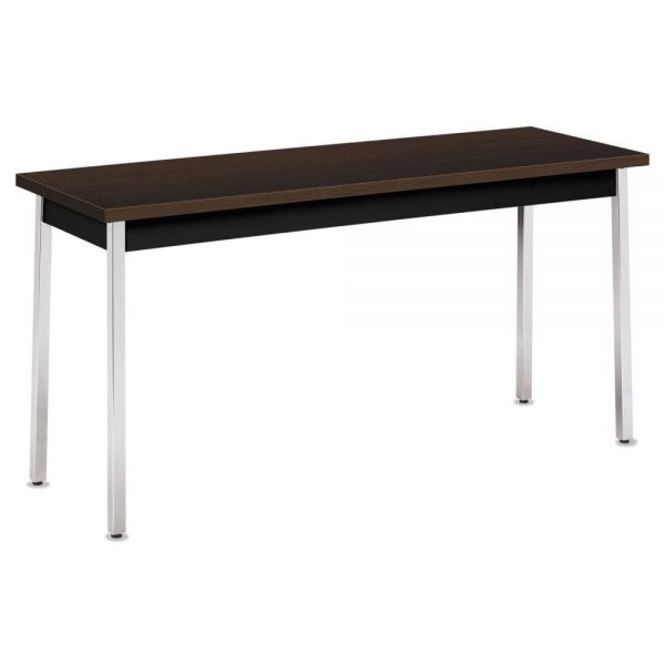 HON Utility Table, Rectangular, 60w x 20d x 29h, Mocha/Black