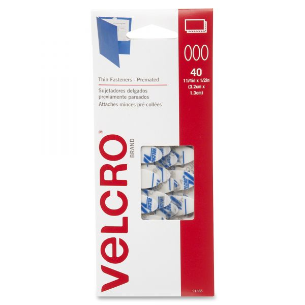Velcro Oval Hook and Loop Fasteners, 7 1/4 x 3, White, 40/Pack