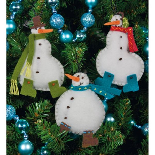 Simple Snowmen Ornaments Felt Applique Kit